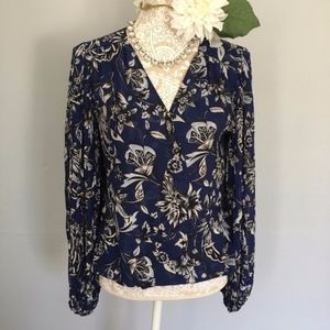 WHBM // Blue, Black Floral Wrap Front Blouse 8